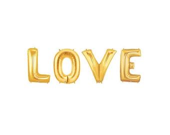 Love Gold Letter Balloons, Love Letter Balloons, Gold Love Balloon Banner, Engagement Balloons, Engagement Photo Props, Bachelorette Party