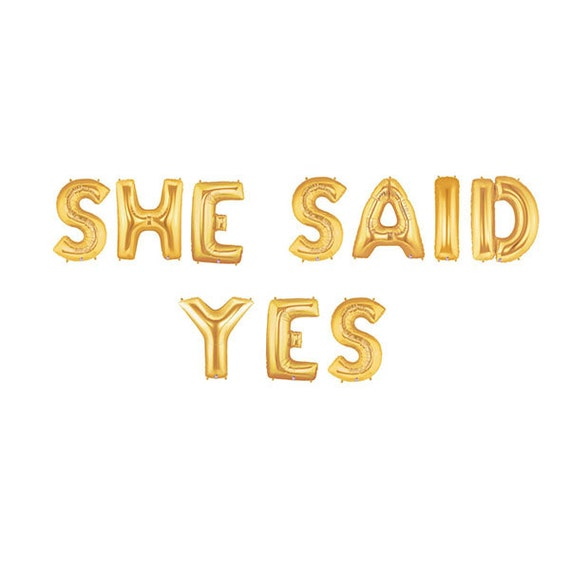 she said yes letter balloons bridal shower balloon banner bridal shower banner shower gold party decorations from