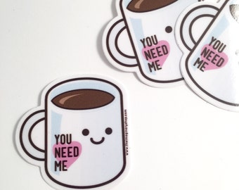 Coffee Lover Cute Vinyl Sticker
