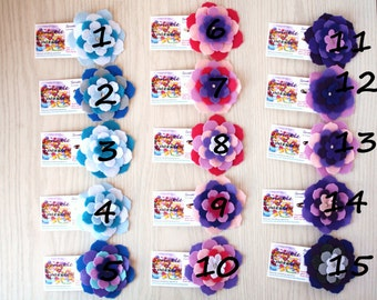 Felt Flower Barrettes Blues/Pinks/Purples-Recycled Felt 5-Layered-pick one