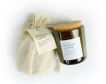 Rosemary + Lemon | 8 oz | Soy Wax & 100% Essential Oils Candle | Mother's Day Gift, Kitchen Candle, Recycled Glass, Cork Lid