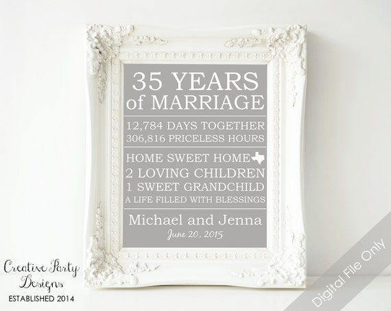 65th Wedding Anniversary Gift For Parents : ... Parents - Gift - Printable - Parents Anniversary - 35th Wedding