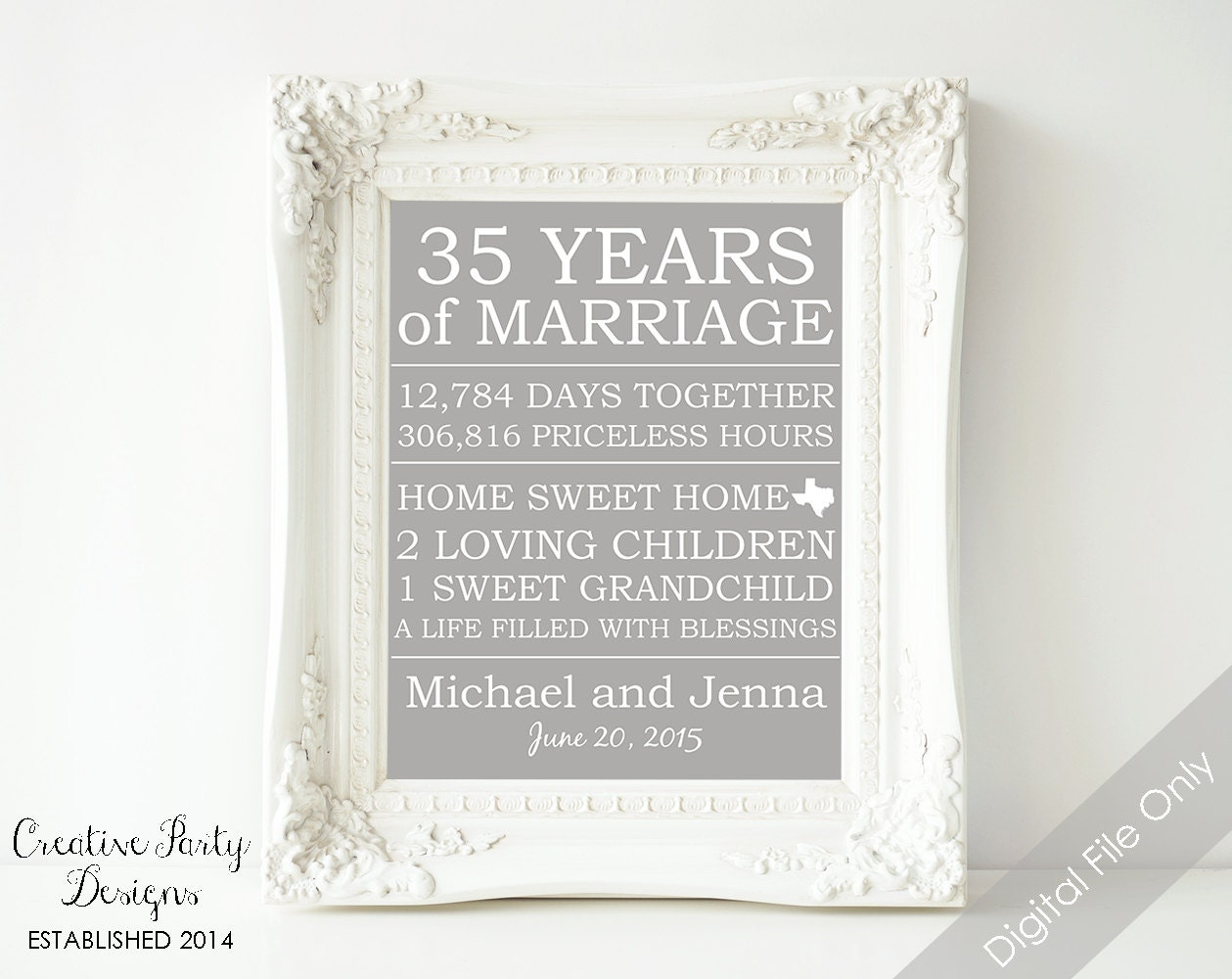 60th Wedding Anniversary Gifts For Parents: 35th Anniversary Gift Personalized By CreativePartyDesigns