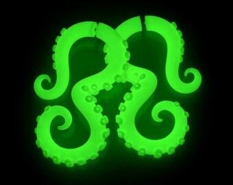 Glow In The Dark Tentacle Earrings, Octopus Ear Plugs & Fake Plugs Fake Gauges, Glow In The Dark Plugs 4g 0g 00g Glow In The Dark Ear Gauges