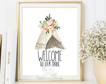 Welcome to our tribe print Quote Printable wall art Guest Room Decor Entrance wall art home decor printable floral guest room Quote art 3-75