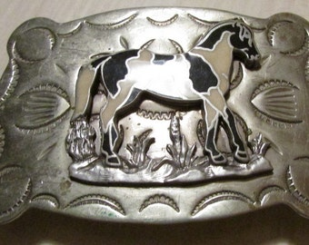 Frontier Buckles Nickel Silver Black and White Horse Buckle