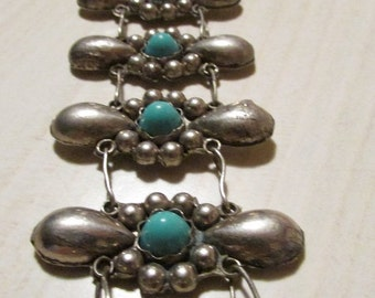"33 1/2""  Alpaca and Faux Turquoise Link Belt"