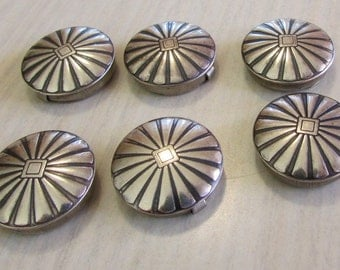 Set of 6 Sterling Silver Top Button Covers