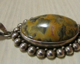 Sterling Silver Pendant with Unusual Stone.
