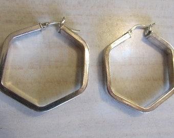Sterling Silver Hexagon Hoop Earrings