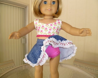 Three Piece Country Swing Dance Outfit for American Girl Doll Or Any Other 18 Inch Soft Bodied Doll