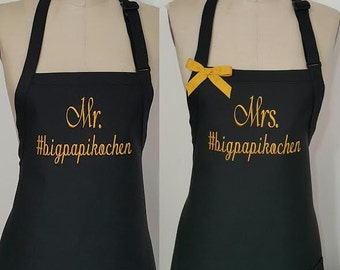 Black and Gold Personalized aprons / 50th Anniversary Gift / #tag Aprons / Hostess gift idea / Elegant aprons / Couples Aprons .