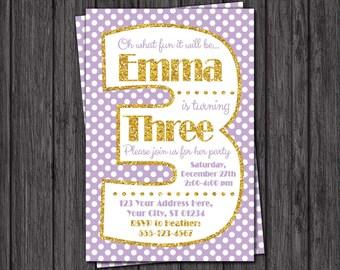 Third Birthday Invitation - Lavender and Gold 3rd Birthday Invitations