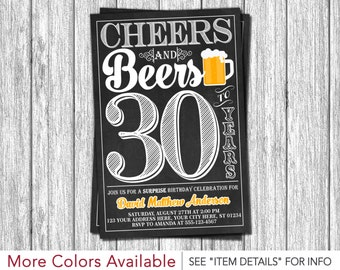Cheers and Beers to 30 Years Birthday Invitation | 30th, 40th, 50th Surprise Birthday Party