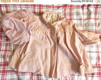 SALE Vintage Pink Baby Coat and Bonnet Set