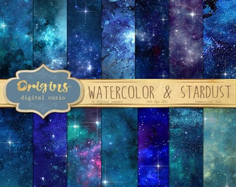Watercolor and Stardust Digital Paper, Starfield Galaxy Night Sky Cosmic Celestial Watercolor Scrapbook Paper Pack Backgrounds textures