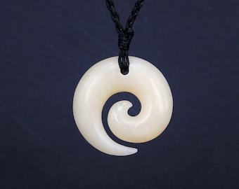 Free Shipping - Koru Necklace New Zealand Maori bone carving Handcarved from bone friendship symbo