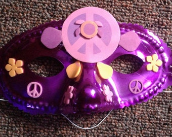 Purple with Peace Signs and Flowers half-face Mask