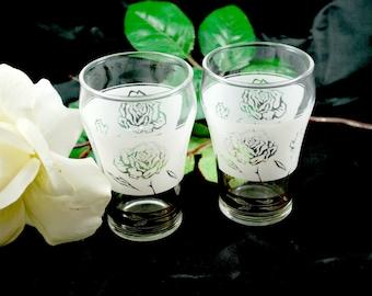 Swanky Swigs Tumblers , White Roses , Set of 2 Vintage Glasses , 6 Oz