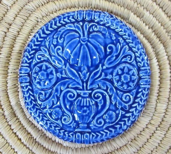 Decorative Ceramic Tile -- ButterMold Art Tile glazed in Royal Blue