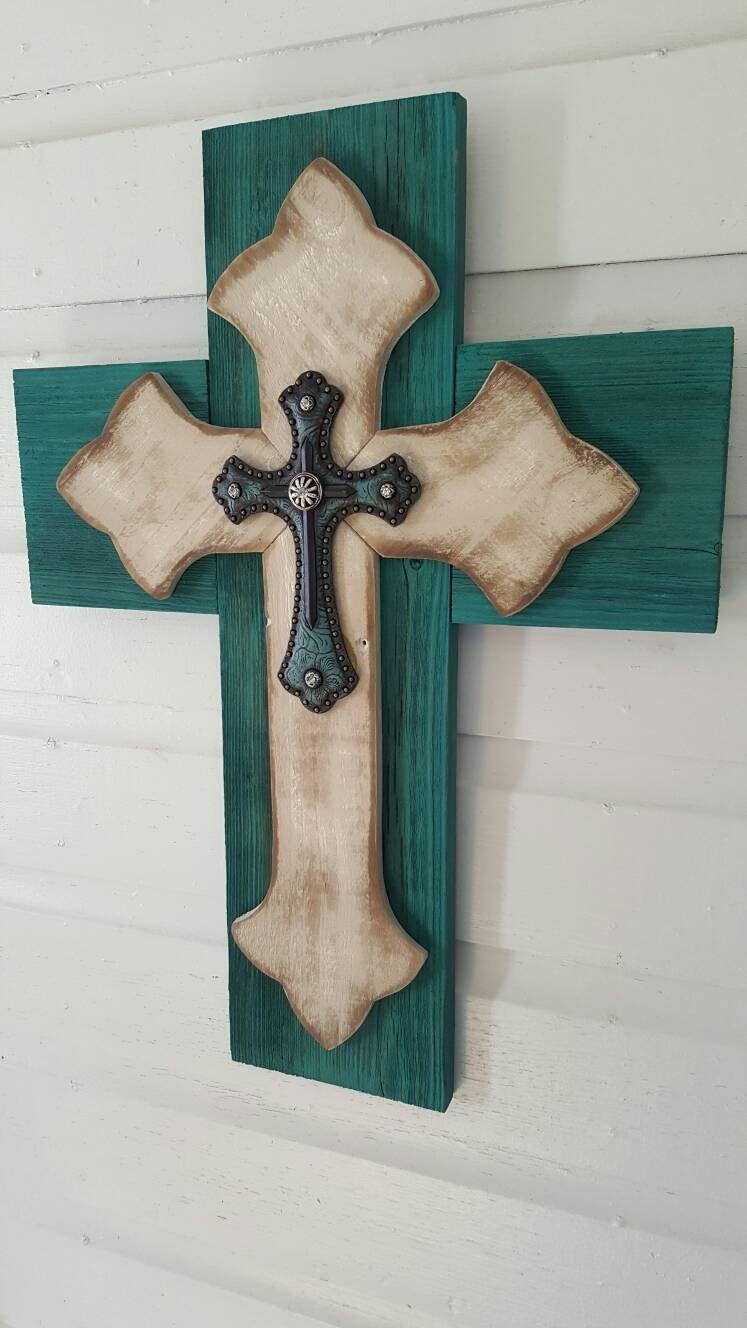 Unique shabby chic wall cross sale rustic pallet cedar wood zoom amipublicfo Gallery