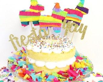 Mini Pinata Cake Topper, Cinco de Mayo, Fiesta Birthday Parties, Fiesta Wedding, Mexican Birthday, Fiesta Decoration, Fiesta, 3 toppers