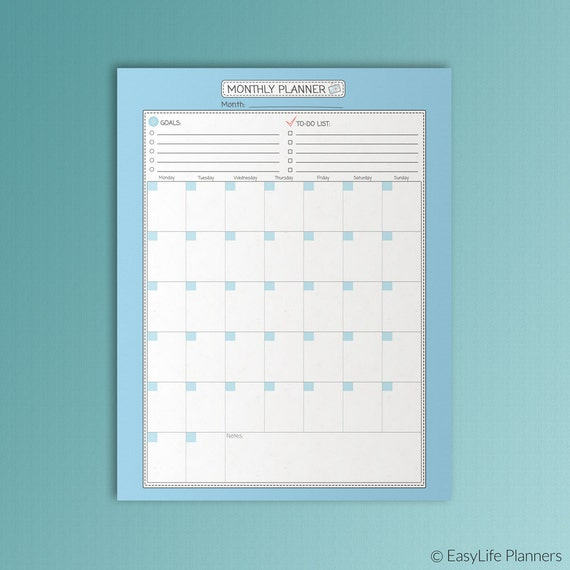 Monthly PLANNER Printable PDF Letter Size Undated Organizer