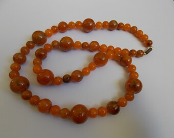 Necklace vintage orange beads resin of the years 1960 old necklace