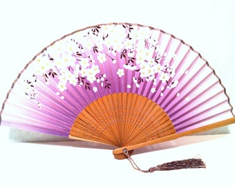 Japanese Hand Fan Handfan Folding Fan with Cherry Blossom flower Design Blue and Purple Color to choose from