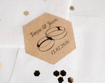 Wedding sticker seal hexagon brown kraft paper