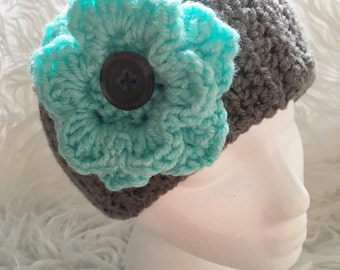 Adjustable crochet headband with flower - woman's ear warmer - adjustable headband - girls flower headband ear warmer