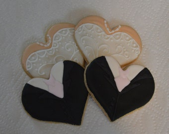 bride and groom heart cookies