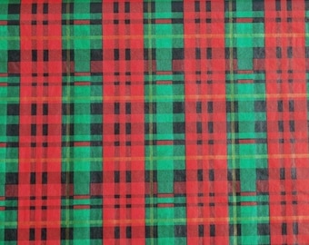 Christmas Plaid Tissue Paper / Gift Paper # 851 - 10 Large Sheets .. Fall, Man