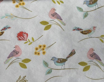 Pastel Birds Tissue Paper # 287 / Gift Wrap on Ivory background -- 10 Large sheets