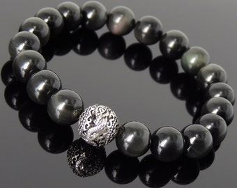 Mens' Women Rainbow Black Obsidian Sterling Silver Bracelet Dragon Bead DiyNotion Handmade BR929