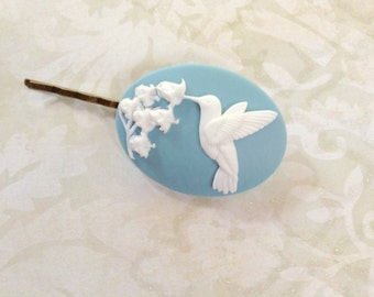 Hair Clip White on Baby Blue Hummingbird