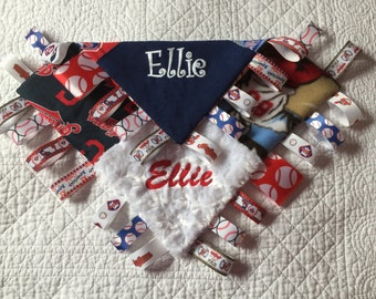 """Cleveland Indians and Philadelphia Phillies Combo Baby Sensory Ribbon Security Blanket Lovey with Tags 16""""x16""""  MLB BASEBALL Teams"""