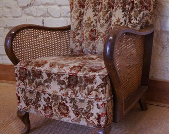 A Vintage French Cane Sided Armchair inc. Reupholstery (exc. Fabric)