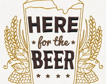 Craft Brew - Here for the Beer Embroidered Flour Sack Hand/Dish Towel
