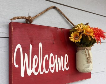 Rustic Outdoor Welcome Sign in Red - Wood Signs - Front Door Sign - Rustic Home Decor - Wedding Gift - Home Decor - Custom Sign