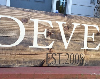 Family Name Wood Sign- Established Sign- Wedding Sign- Wedding Gift- Housewarming gift- Farmhouse Decor- Rustic Home Decor