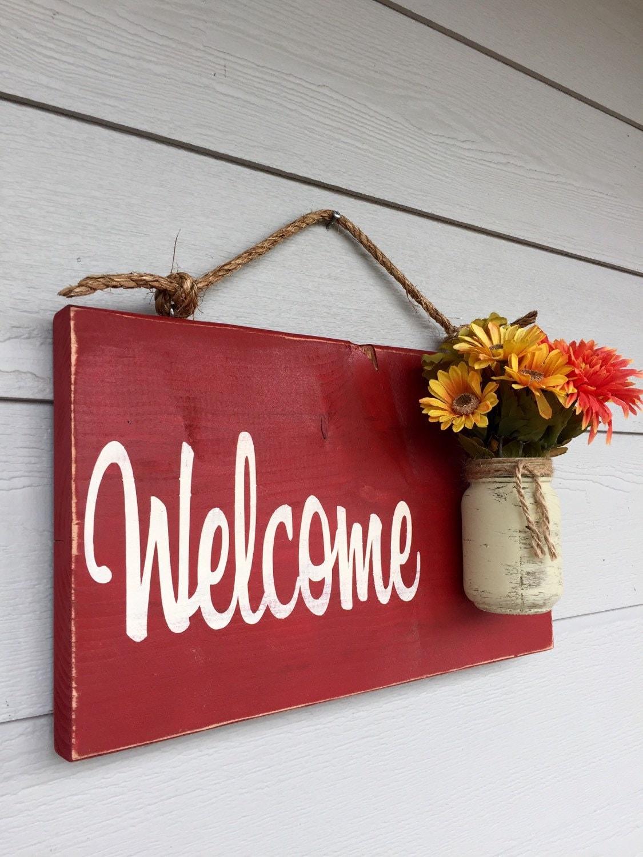 Rustic Outdoor Welcome Sign In Red Wood Signs Front Door