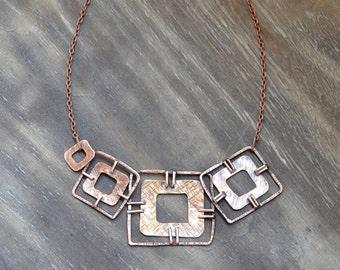 Geometric copper handmade necklace, squares