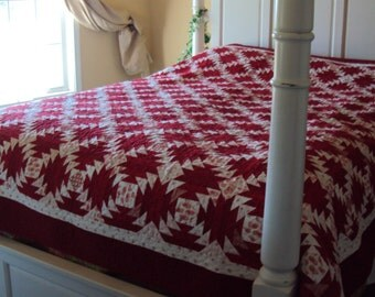 Red and White Christmas Quilt-Handmade Traditional Queen Size Quilt-- Gift