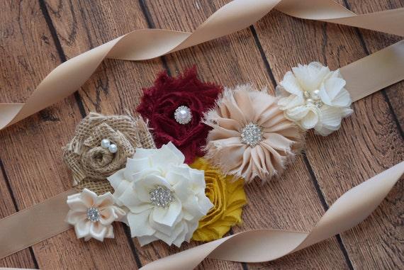 Fall Autumn Flower Sash, ivory, burgundy and mustard Sash , flower Belt, maternity sash