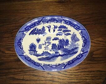 Vintage Blue Willow Serving Bowl Marked JAPAN In Black