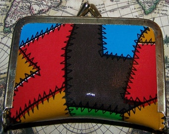 Vintage Travel Size Sewing Kit Coin Purse 1970's Patchwork