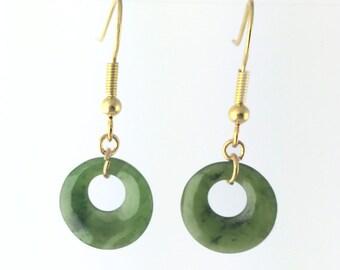 Nephrite Jade Earrings Special Gold Tone