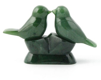 Hand Carved Canadian Jade Lovebird's - 35th wedding anniversary