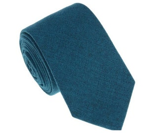 Teal Blue Wool Tie.Teal Wedding Tie.Teal Blue Wool Skinny.Mens Necktie.